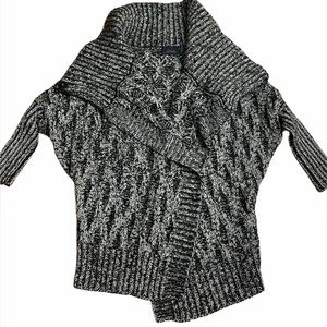 Line open front cardigan chunky knit sweater Yarn